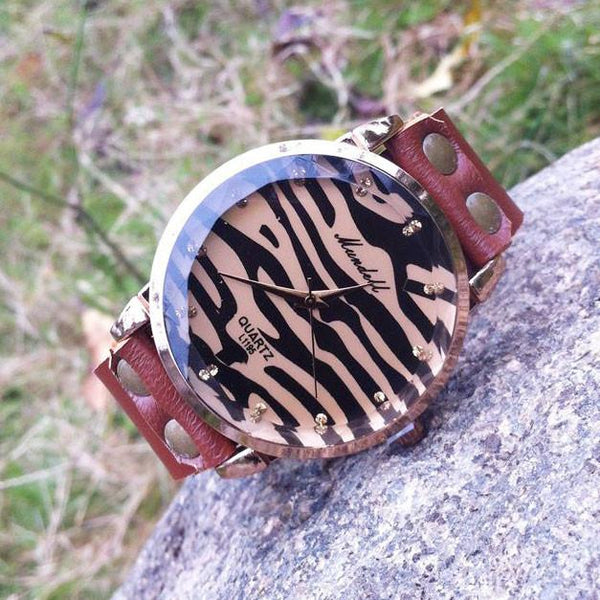 Retro Sexy Leopard Rhinestone Leather Watch - lilyby