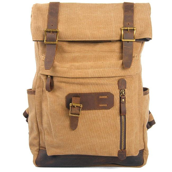 Retro Brown Large Laptop Rucksack Splicing Cowhide Outdoor Travel Canvas Backpack For Big Sale!- Fowish.com