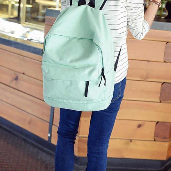 Simple Pure Color Solid Rucksack School Bag For Girl Canvas Backpacks For Big Sale!- Fowish.com