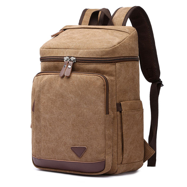 Retro Outdoor Rucksack Laptop Travel Men's Backpack Large Student Cylindrical Backpack