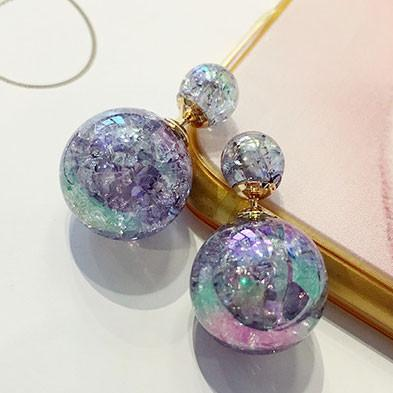 Unique Wish Ball Spherical Sand Gems Crystal Jewelry Earring Studs For Big Sale!- Fowish.com