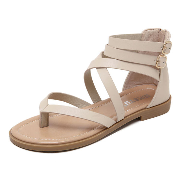 Leisure Double Buckle Beach Flats Zippers Summer Shoes Women's Roman Sandals