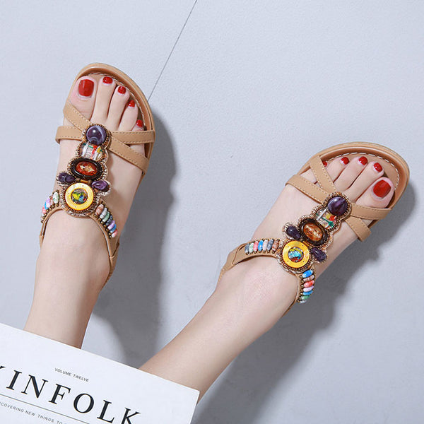 Retro Beach Flats Summer Shoes Bohemia Beaded Holiday Women's Sandals