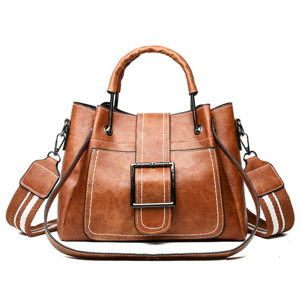 Retro Crossbody Bags for Women Single Buckle Oil Leather Iron Handle Bucket Messenger Bag Handbag Shoulder Bag