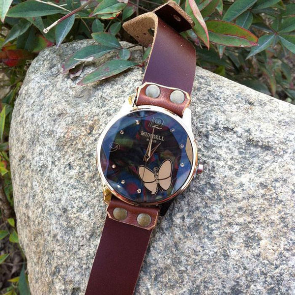Retro Cowhide Leather Butterfly Diamond Black Brown Student Watch - lilyby