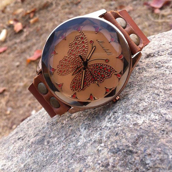 Retro Handmade Cowhide Leather Butterfly Personality Women Watch - lilyby