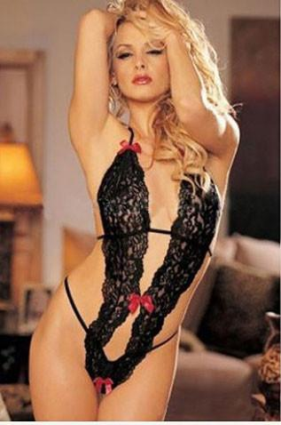 Siamese Sweet Bowknow Halter Lingerie Set Crotchless Conjoined Net For Big Sale!- Fowish.com