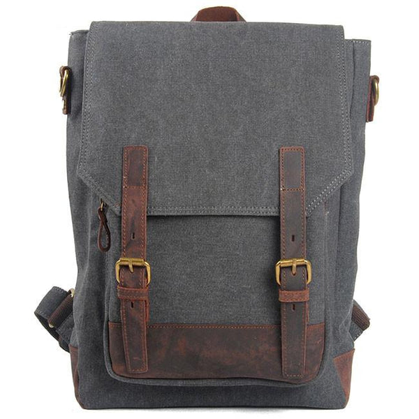 Retro Cowhide Leather Splicing Canvas Travel Backpack Leisure Large Capacity School Rucksack For Big Sale!- Fowish.com
