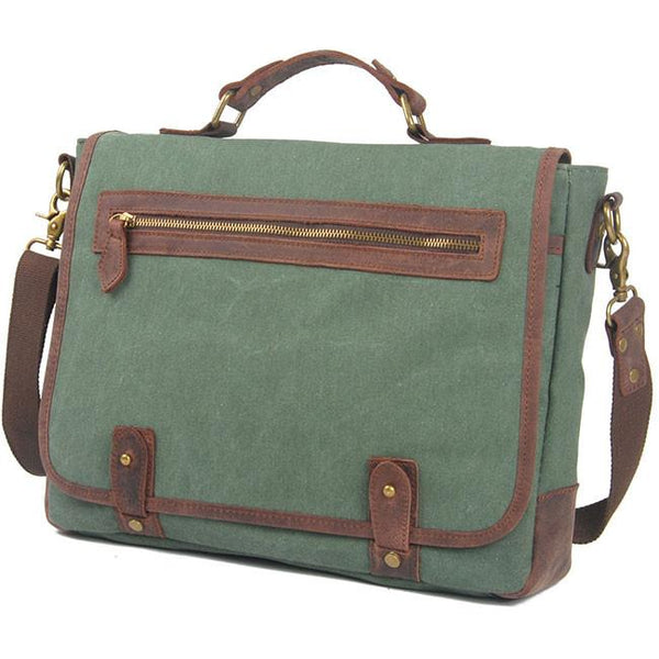Vintage Large Splicing Leather Flap Square Handbag Briefcase Laptop Thick Canvas Shoulder Bag For Big Sale!- Fowish.com