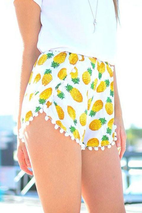 small Balls Pineapple Print Elastic Waist Chiffon Fringed Shorts For Big Sale!- Fowish.com