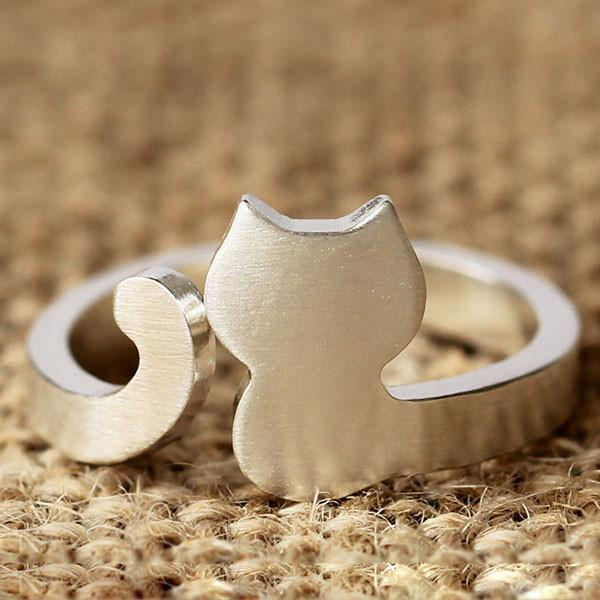Original Cat Animal Pattern S925 Silver Opening Ring/Gift - lilyby