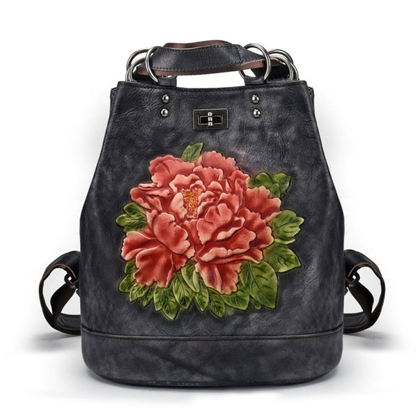 Retro 3D Flower Leaves Multi-function Shoulder Bag Handmade Original Large School Backpack