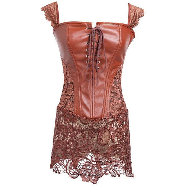 Sexy Hollow Body Slim Nightdress Leather Bandage  Lace Women Lingerie