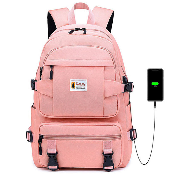 Leisure Four Buckle Large Capacity Student School Bag  Outdoor Middle School Waterproof Backpack