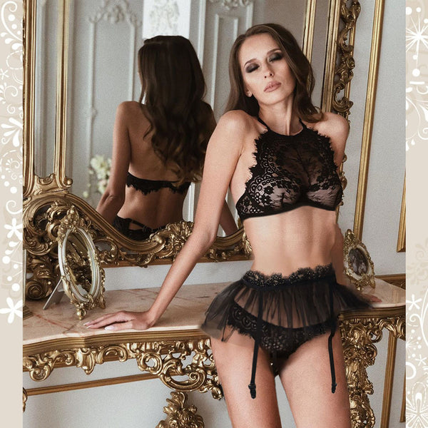 Sexy Hollow Lace Perspective Bra Black Eyelash Three-piece Set Women's Lingerie