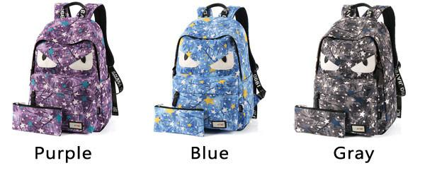 Cartoon Star Printing Little Monster School Bag Graffiti Canvas Backpack For Big Sale!- Fowish.com