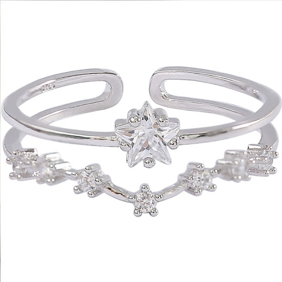 Cute Star Open Silver Zircon  Double Flower Women Ring