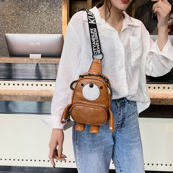 Lovely Cartoon Bear Shape Multi-function Lady PU Messenger Bags Shoulder Bag