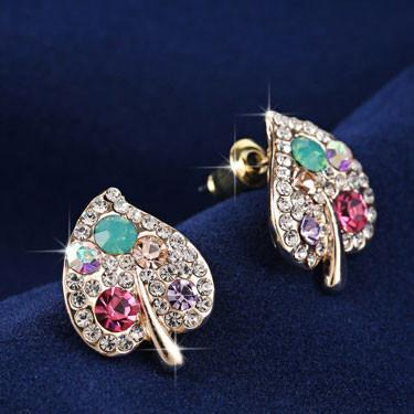 Christmas Gift New Leaf Shape Rhinestone Ear Studs - lilyby