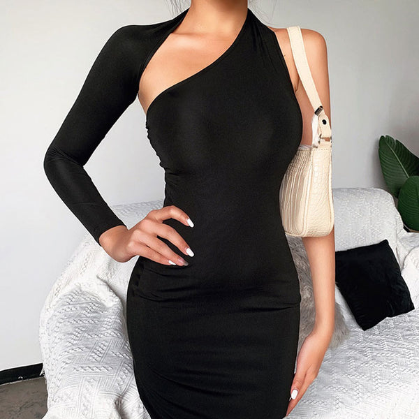 Fashion Design Single Long Sleeve Irregular Black Party Long Dress