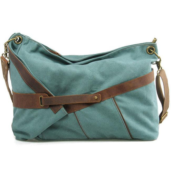 Vintage Leather Belt Tied Up Irregular Folding Bag Large Thick Canvas Shoulder Bag For Big Sale!- Fowish.com