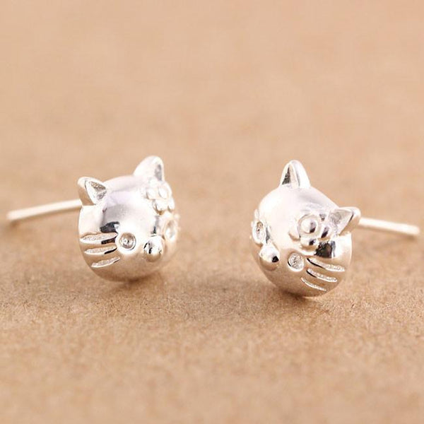 Lovely Cat Earpins Pure Silver Kitty Earrings Studs For Big Sale!- Fowish.com
