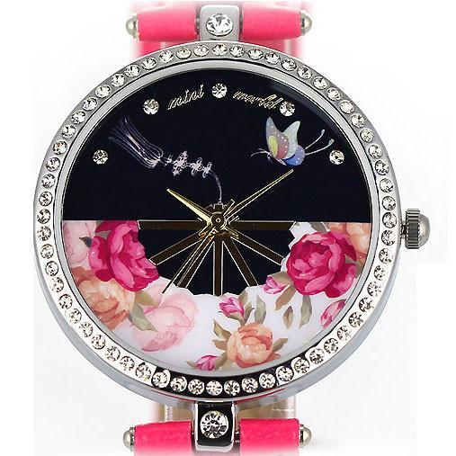 Pretty Floral Butterfly Rhinestone Watch - lilyby