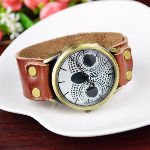 Retro Handmade Animal Watch Owl Rivet Leather Women Watch For Big Sale!- Fowish.com