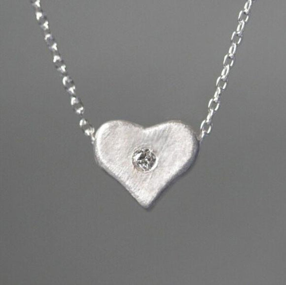 Unique Heart Shape Rhinestone 925 Sterling Silver Necklace For Big Sale!- Fowish.com