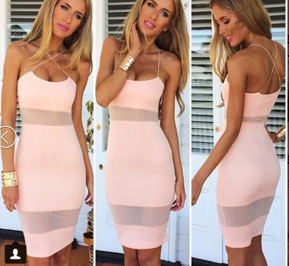 Sexy Soild Cross Brace Backless Mesh Dress For Big Sale!- Fowish.com