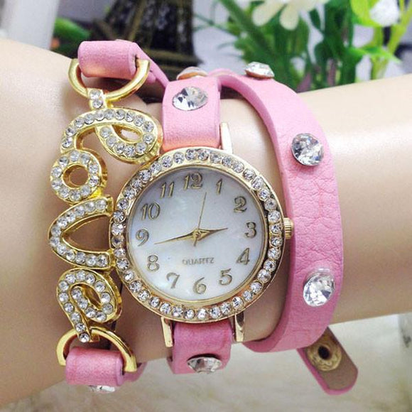 Shining Rhinestone Love Intertwine Bracelet Watch For Big Sale!- Fowish.com