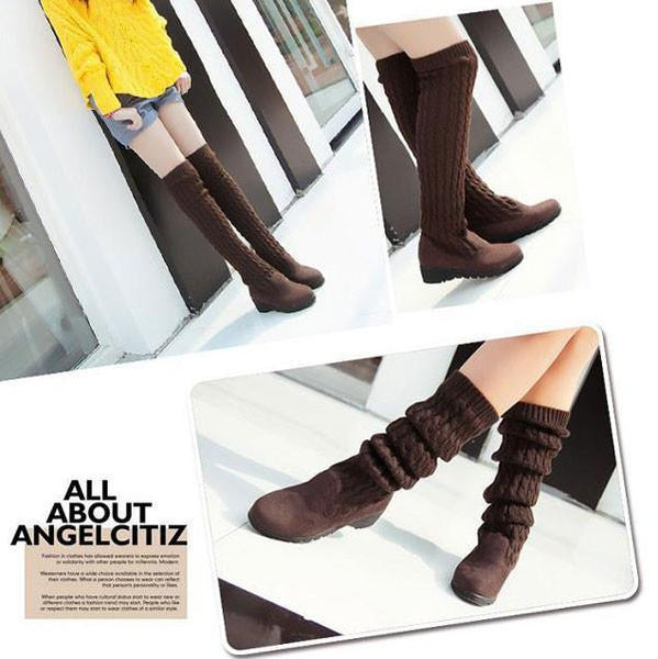 Unique Knitted Sweater High Winter Boots For Big Sale!- Fowish.com