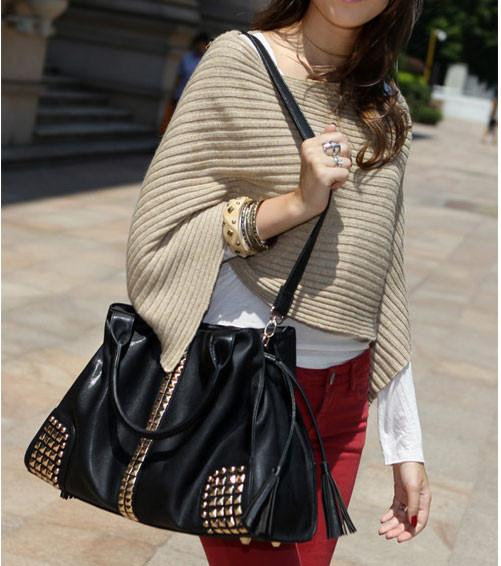 Rivets Large Capacity Shoulder Bag Messenger bag Handbag For Big Sale!- Fowish.com