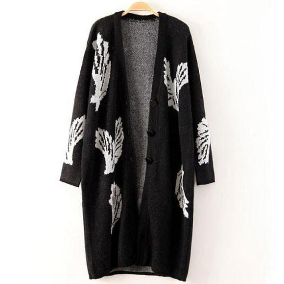 Unique Big Wings Black Long Cardigan Coat For Big Sale!- Fowish.com