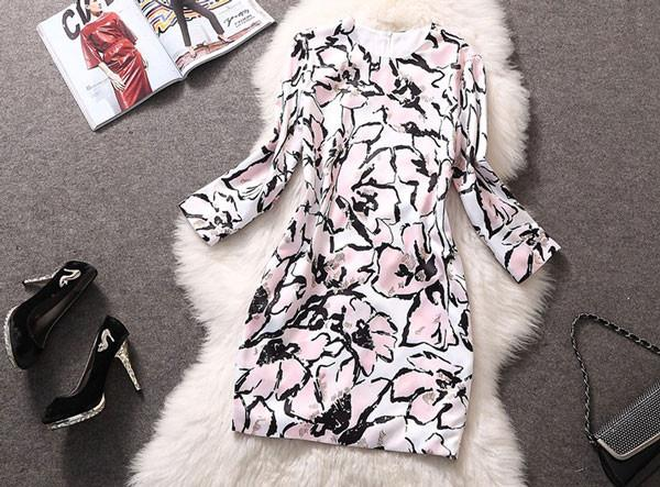 Large Flower Print With Scarves Slim Cut Dress - lilyby
