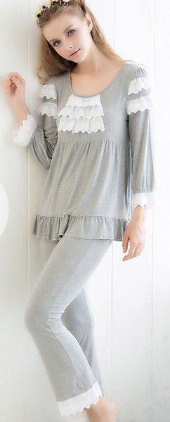 Comfortable Bamboo Fiber Embroidery Lace Long-sleeved Pajamas - lilyby
