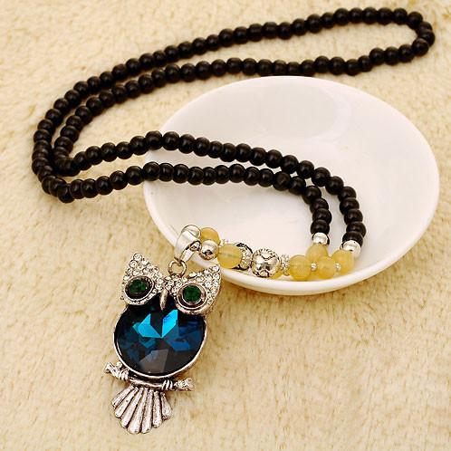 Retro Crystal Owl Beaded Chain/Necklace - lilyby