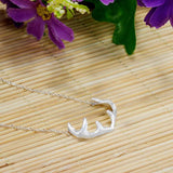 Antler Shape Pendant Necklace 925 Sterling Silver Jewelry - lilyby