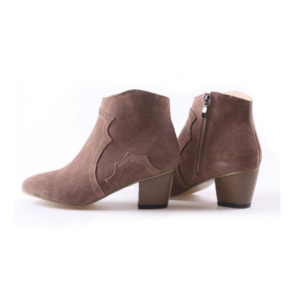 Casual Side Zipper Nubuck Leather Ankle Boots/Martin Boots - lilyby