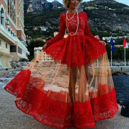 Unique Perspective Sleeved Red Lace Dresses For Big Sale!- Fowish.com