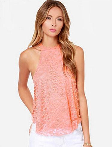 New Fashion Sexy Openwork Back Lace Halter Tops - lilyby