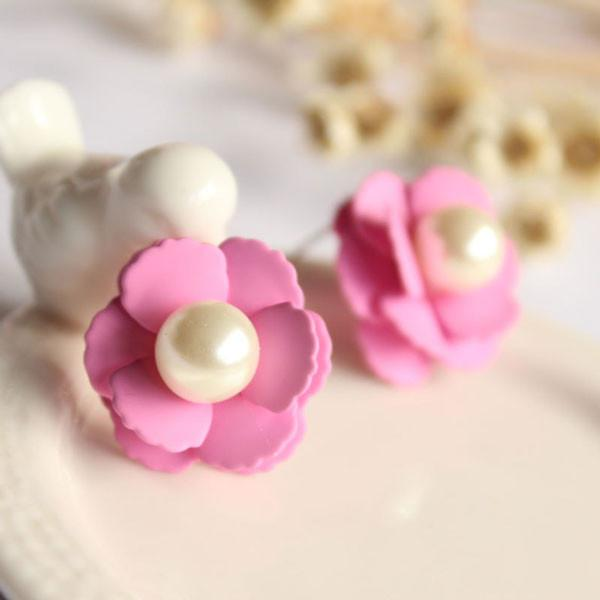 Sweet Beautiful Colorful Pearl Flower Stud Earrings For Big Sale!- Fowish.com