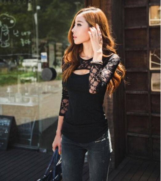 New Fashion Sexy Nightclub Stitching Lace Shirt - lilyby