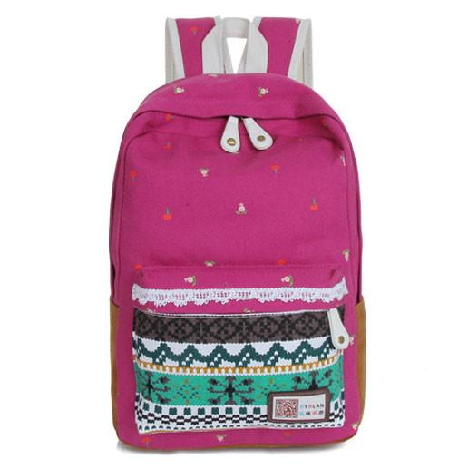 Folk Lace Striped Leisure College Backpacks - lilyby