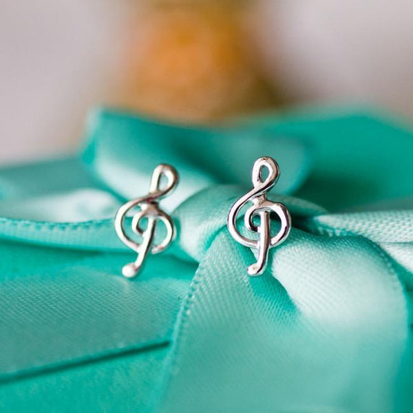 Cute Beauty of Line Silver Music Notes Sweet Women's Earring Studs For Big Sale!- Fowish.com