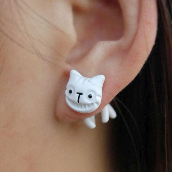 Cute Colorful 3D Animal Cat  Smiley Earrings studs - lilyby