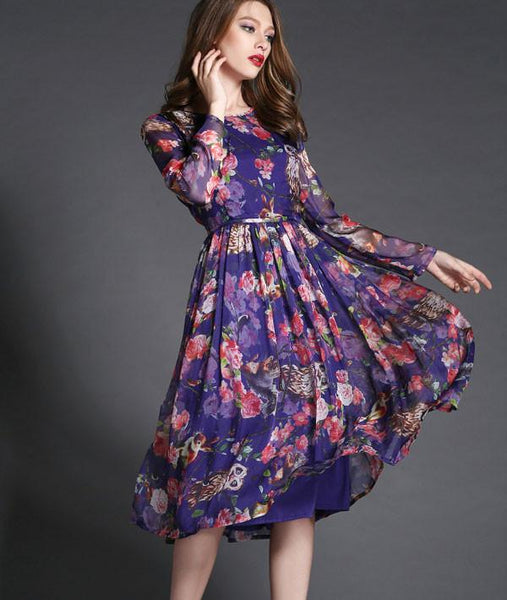 Fashion New High-end Owl Printing Long Dress - lilyby