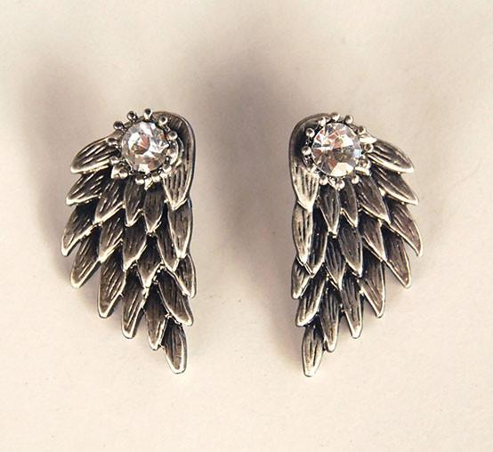 Fashion Feather Angel Wings Rhinestone Earrings stud - lilyby