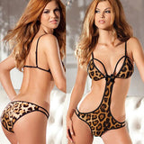 Sexy Lady's Wild V-neck Leopard Printing Front Hollowed-out Backless Bikinis Jumpsuits Lingerie For Big Sale!- Fowish.com