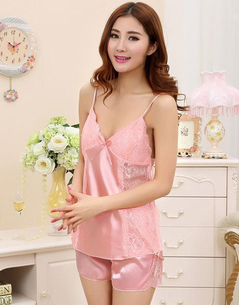 Summer Sexy Silk Harness Straps Two-piece Pajamas For Big Sale!- Fowish.com